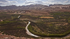 San Rafael River Utah Shot from High Angle Meandering Bend Stock Footage