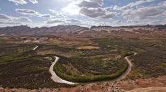 San Rafael River Utah Shot from High Angle Locked Extreme Wide Stock Footage
