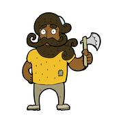 Stock Illustration of cartoon lumberjack with axe
