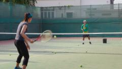 23of26 People, man and woman playing tennis, game, match, sports Stock Footage