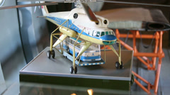 Model of helicopter Mi-10 with bus in museum of Helicopter Plant Stock Footage