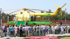 Opening of monument to Mi-8 on holiday devoted to anniversary Stock Footage