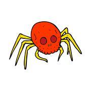 cartoon spooky halloween skull spider - stock illustration