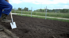 Grower uses the shovel to make some holes into the plowed field - stock footage
