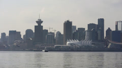 Vancouver Skyline with SeaBus and Floatplane Landing Stock Footage