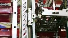 Close up of working mechanical lift for shifting boxes Stock Footage