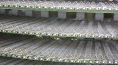 Many long metal shelves for industrial heating products Stock Footage