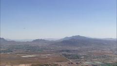 Desert Flat Town Lakes Airplane Stock Footage