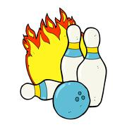Ten pin bowling cartoon Stock Illustration