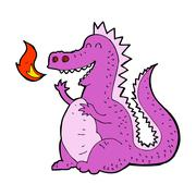 Cartoon fire breathing dragon Stock Illustration