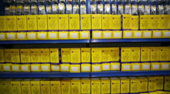 Many yellow boxes with bolts at AgroProdMash Stock Footage