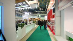 People in food court at AgroProdMash in Expocentre. Stock Footage