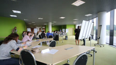 People in center of Moscow School of Management Skolkovo Stock Footage