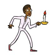 Cartoon frightened man walking with candlestick Stock Illustration