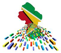 Stock Illustration of guyana map flag with containers illustration