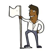 Stock Illustration of cartoon man planting flag
