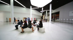 Lunch in hall in Moscow School of Management Skolkovo Stock Footage