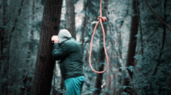 The noose before the man in the woods Stock Footage