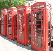 Red Telephone Boxes, Charing Cross London May 2014 - stock photo