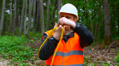 Lumberjack  with rope Stock Footage