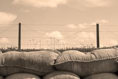 Trenches of death world war one sandbags in belgium Stock Photos