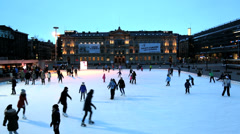 People ice skating Ateneum, Art Museum, Helsinki Finland - stock footage