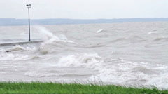 Big waves at Lake Balaton Stock Footage