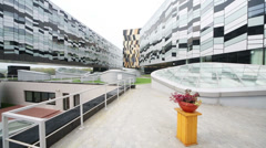 Yard of modern building of Russian Business School Skolkovo Stock Footage