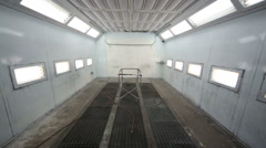 Empty paint-spraying booth with grey metal walls for cars Stock Footage
