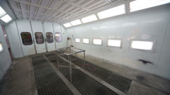 Inside empty paint-spraying booth with metal walls for cars Stock Footage