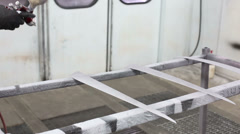 Stock Video Footage of Hand paint car details by airbrush in paint-spraying booth