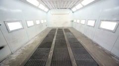 Simple paint-spraying booth with metal walls for cars Stock Footage
