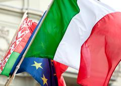 Italian flag waving - stock photo