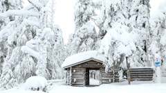 Male walker Riisitunturi NP snowy frozen Lapland Finland Stock Footage