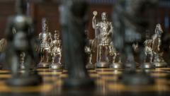 4k UHD chess figures arc dolly DOV bluish background 11353 Stock Footage