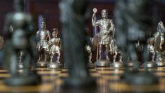Chess figures dolly DOV blue background 11354 Stock Footage