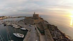 Air view on Mandraki Harbour where the colossus of Rhodes used to be located. Stock Footage