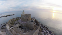 Air view on Fort Saint Nicolas Rhodes, Summer early morning in Greece Stock Footage