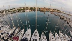 Air view on Mandraki Harbour Stock Footage