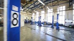 Big modern workshop of Service station Avtostandart Stock Footage