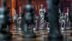 Chess figures dolly DOV natural background 11356 Stock Footage