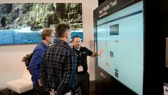 Video wall demo during NAB Show 2014 exhibition in Las Vegas, USA. Stock Footage