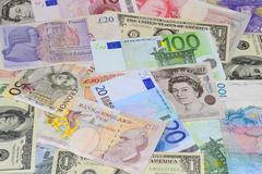 Banknotes of different countries Stock Photos