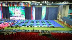 Competitors, grandstands at International Billiards Tournament Stock Footage