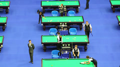 Competitors at VII International Billiards Tournament Stock Footage