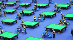 Tables and people at VII International Billiards Tournament Stock Footage
