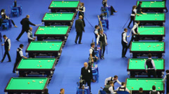 Stock Video Footage of Men play billiards at VII International Billiards Tournament