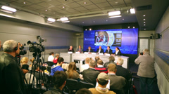 Press conference before international basketball tournament cup Stock Footage