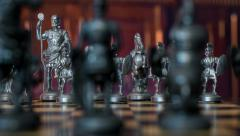 4k UHD chess figures dolly DOV natural background 11357 Stock Footage