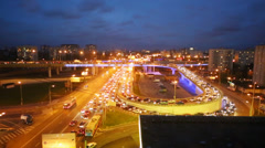 Night view of traffic jam on third transport ring in Moscow Stock Footage